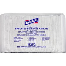 "Genuine Joe Quad-fold Square Beverage Napkins - 1 Ply - 9.5"" x 9.5"" - White - Absorbent, Embossed, Quad-fold - For Beverage - 500 Quantity Per Pack - 4000 / Carton"