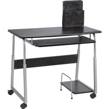 "Lorell Mobile Computer Desk - Rectangle Top - 41.5"" Table Top Width x 20.5"" Table Top Depth x 0.7"" Table Top Thickness - 29"" Height - Black, Laminated, Silver"