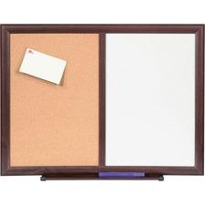 LLR 84270 Lorell Dry-erase Mahogany Frame Cork Combo Boards LLR84270