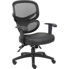 LLR60623 - Lorell Mesh-Back Leather Executive Chair