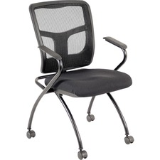 LLR 84374 Lorell Mesh Back Nesting Chair w/ Armrests LLR84374