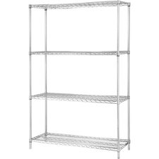 LLR 84187 Lorell Industrial Chrome Wire Shelving Starter Kit LLR84187