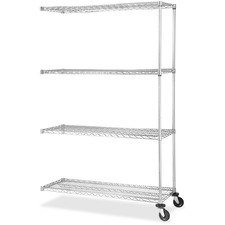 LLR 84179 Lorell Chrome Industrial Shelving Add-on Unit  LLR84179