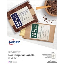 """Avery® Rectangle Labels, Print to the Edge, Pearlized Ivory, 3"""" x 3-3/4"""" , 48 Labels (22823) - Permanent Adhesive - Rectangle - Laser, Inkjet - Ivory - Paper - 6 / Sheet - 8 Total Sheets - 48 Total Label(s) - 48 / Pack"""