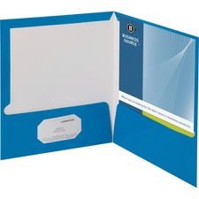 "Business Source Letter Pocket Folder - 8 1/2"" x 11"" - 100 Sheet Capacity - 2 Internal Pocket(s) - Blue - 25 / Box"