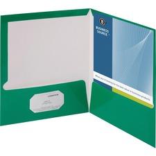 "Business Source Letter Pocket Folder - 8 1/2"" x 11"" - 100 Sheet Capacity - 2 Internal Pocket(s) - Card Paper - Green - 25 / Box"