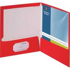 "Business Source Letter Pocket Folder - 8 1/2"" x 11"" - 100 Sheet Capacity - 2 Internal Pocket(s) - Card Paper - Red - 25 / Box"