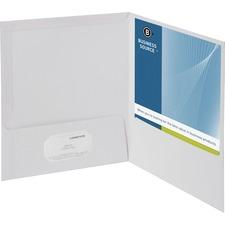 "Business Source Letter Pocket Folder - 8 1/2"" x 11"" - 100 Sheet Capacity - 2 Internal Pocket(s) - White - 25 / Box"