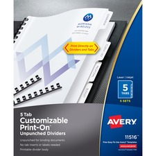AVE11516 - Avery&reg Customizable Print-On Dividers - Unpunched