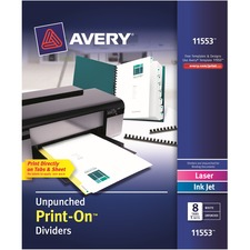 AVE11553 - Avery&reg Customizable Print-On Dividers - Unpunched