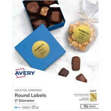 AVE22831 - Avery&reg Matte Embossed Foil Round Labels