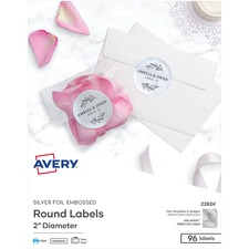 AVE 22824 Avery Easy Peel Foil Embossed Round Labels AVE22824