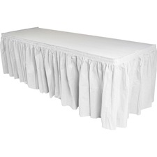 Genuine Joe Nonwoven Table Skirts - 14 ft (4267.20 mm) Length - Adhesive Backing - Polyester - White