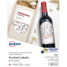 """Avery® Water-Resistant Arched Labels, Print to the Edge, Textured Matte, 3-1/2"""" x 4-3/4"""" , 40 Labels (22826) - Permanent Adhesive - Arched Rectangle - Laser - Matte White - Paper - 4 / Sheet - 10 Total Sheets - 40 Total Label(s) - 40 / Pack"""