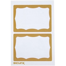 """Baumgartens Self-adhesive Visitor Badge - 3.50\"""" Width x 2.25\"""" Length - 100 / Box - Rectangle - Gold, White"""