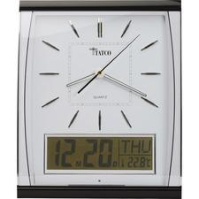 TCO 59130 Tatco LCD Inset Elegant Rectangular Wall Clock TCO59130