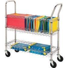 "Lorell Wire Mail Cart - 45 kg Capacity - 4 Casters - 4"" (101.60 mm) Caster Size - Steel - 34.3"" Width x 12.5"" Depth x 40"" Height - Chrome"