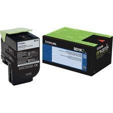 Lexmark Unison 801K Toner Cartridge - Laser - Standard Yield - 1000 Pages Black - Black - 1 Each