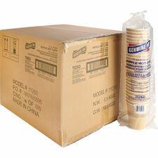 Genuine Joe Ripple Hot Cups - 12 fl oz - 500 / Carton - Brown - Hot Drink