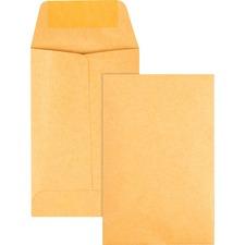 "Quality Park Coin Envelopes - Coin - 2 1/4"" Width x 3 1/2"" Length - 24 lb - Gummed - Kraft - 500 / Box"