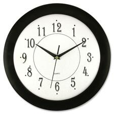 "Artistic 12"" Black Frame Round Wall Clock - Analog - Quartz - White Main Dial - Black"