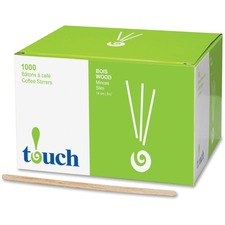 "touch Stone Straw Wooden Coffee Stir Sticks - 5.50"" Length - Wood - 1000 / Box"