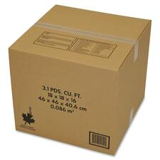 """Crownhill Shipping Box - External Dimensions: 18"""" Width x 16"""" Depth x 18"""" Height - 87.78 L - Kraft - Brown - For Printer - Recycled - 10 / Pack"""