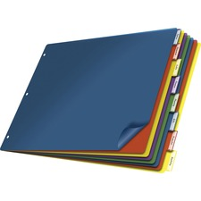 """Cardinal 11x17 Poly Insertable Dividers - 8 Tab(s) - 8 Tab(s)/Set - 11"""" Divider Width x 17"""" Divider Length - Clear Poly Divider - Multicolor Tab(s) - 1 Each"""