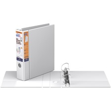 """QuickFit D-Ring Deluxe File Binder - 2"""" Binder Capacity - 450 Sheet Capacity - Ring Fastener(s) - 2 Internal Pocket(s) - Vinyl - White - Recycled - Label Holder, Heavy Duty, Reinforced Hole, Finger Hole, Antimicrobial, Ink-transfer Resistant - 1 Each"""