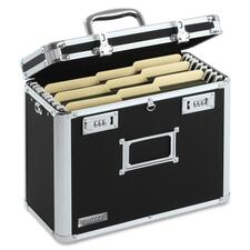 """IdeaStream Locking Personal Letter Size File Tote - External Dimensions: 14"""" Width x 7.5"""" Depth x 12""""Height - Media Size Supported: Letter - Black, Chrome - For File, Folder - 1 Each"""