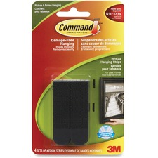 Command Medium Picture Hanging Strips - Black, 17201BLK-C - Paper - Adhesive - 4 / Pack - Black