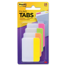 "Post-it® File Tab - Write-on Tab(s) - 1.50"" Tab Height x 2"" Tab Width - Bright Assorted Tab(s) - 1 Pack"