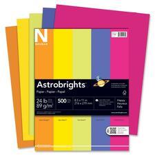 "Astrobrights Inkjet, Laser Print Colored Paper - Letter - 8 1/2"" x 11"" - 24 lb Basis Weight - 500 / Ream - Cosmic Orange, Solar Yellow, Terra Green, Venus Violet, Fireball Fuschia"