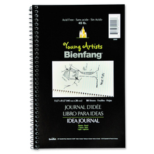 "Bienfang Sketch/Write Idea Journal - 50 Sheets - Spiral - Ruled - 5 1/2"" x 8 1/2"" - White Paper - Acid-free - 1Each"