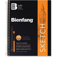 "Bienfang Bienfang Sketch Book - 100 Sheets - Plain - Spiral - 50 lb Basis Weight - 8 1/2"" x 11"" - Acid-free - 1Each"