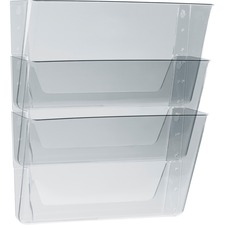 """Storex Wall Pocket - 7"""" Height x 13"""" Width x 4"""" Depth - Unbreakable, Shatter Proof - 100% - Clear - Polycarbonate - 3 / Pack"""