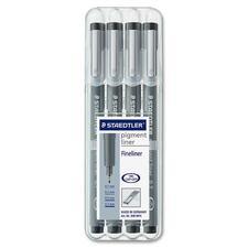 Staedtler Pigment Liner Fine Liner - Fine Pen Point - 0.1 mm, 0.3 mm, 0.5 mm, 0.7 mm Pen Point Size - Black Pigment-based Ink - Metal Tip - 4 / Set