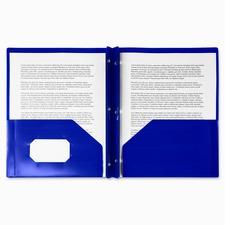 "Winnable Letter Fastener Folder - 8 1/2"" x 11 1/2"" - 3 Fastener(s) - 2 Internal Pocket(s) - Poly - Dark Blue - 1 Each"
