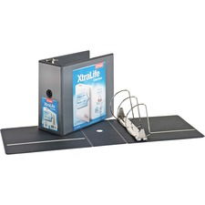 """Cardinal Xtralife ClearVue Locking Slant-D Binders - 6"""" Binder Capacity - Letter - 8 1/2"""" x 11"""" Sheet Size - 1300 Sheet Capacity - 5 1/2"""" Spine Width - 3 x D-Ring Fastener(s) - 2 Inside Front & Back Pocket(s) - Polyolefin - Black - 1.02 kg - Recycled - Non-stick, Tear Resistant, Temperature Resistant, Cold Resistant, Spill Proof, Crack Resistant, Eco-friendly, Locking Ring, Clear Overlay"""