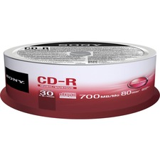 Sony CD Recordable Media - CD-R - 4x - 700 MB - 30 Pack Spindle