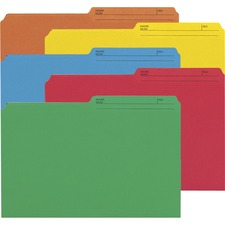 """Smead 1/2 Tab Cut Legal Recycled Top Tab File Folder - 9 1/2"""" x 14 5/8"""" - Paper - Assorted - 10% Recycled - 50 / Pack"""