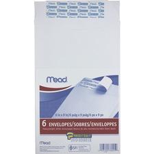 "Mead Press-it Seal-it"" White Envelope - 9"" Width x 6"" Length - 24 lb - 1 / Pack - White"