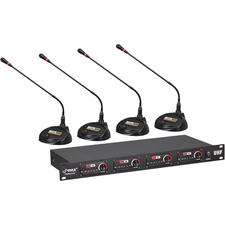 PylePro Rack Mount 4-Channel Desktop Conference UHF Wireless Microphone System
