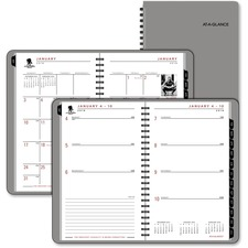 """At-A-Glance Wounded Warrior Weekly/Monthly Appointment Book - Weekly, Monthly - 5.75\"""" x 8.38\"""" - January till December - 1 Week Per 2 Page(s), 1 Month Per 2 Page(s) - Graphite"""