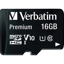 Verbatim 16GB Premium microSDHC Memory Card with Adapter, UHS-I V10 U1 Class 10 - Class 10/UHS-I (U1) - 45 MB/s Read - 1 Card/1 Pack
