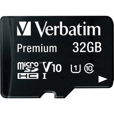 Verbatim 32GB Premium microSDHC Memory Card with Adapter, UHS-I V10 U1 Class 10 - Class 10/UHS-I (U1) - 45 MB/s Read - 1 Card/1 Pack