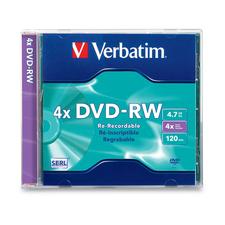 Verbatim DVD-RW 4.7GB 4X with Branded Surface - 1pk Slim Case - 2 Hour Maximum Recording Time