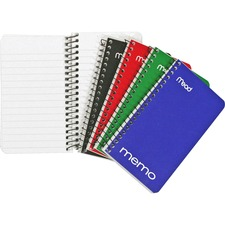 "Mead Wirebound Memo Notebook - 60 Sheets - Wire Bound - 15 lb Basis Weight - 3"" x 5"" - White Paper - Black Binder - Assorted Cover - Cardboard, Nylon Cover - Stiff-back"