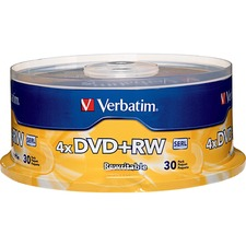 VER 94834 Verbatim 4X DVD+RW Rewritable Discs Spindle VER94834