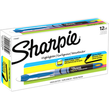 Sharpie Accent Highlighter - Liquid Pen - Micro Marker Point - Chisel Marker Point Style - Fluorescent Blue Pigment-based Ink - 1 / Box